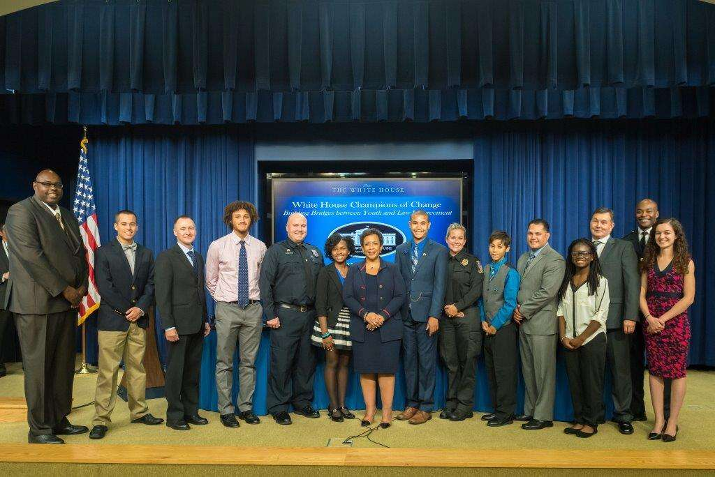 "Police officers and youth awarded by the White House as ""Champions of Change."" CREDIT THE WHITE HOUSE"