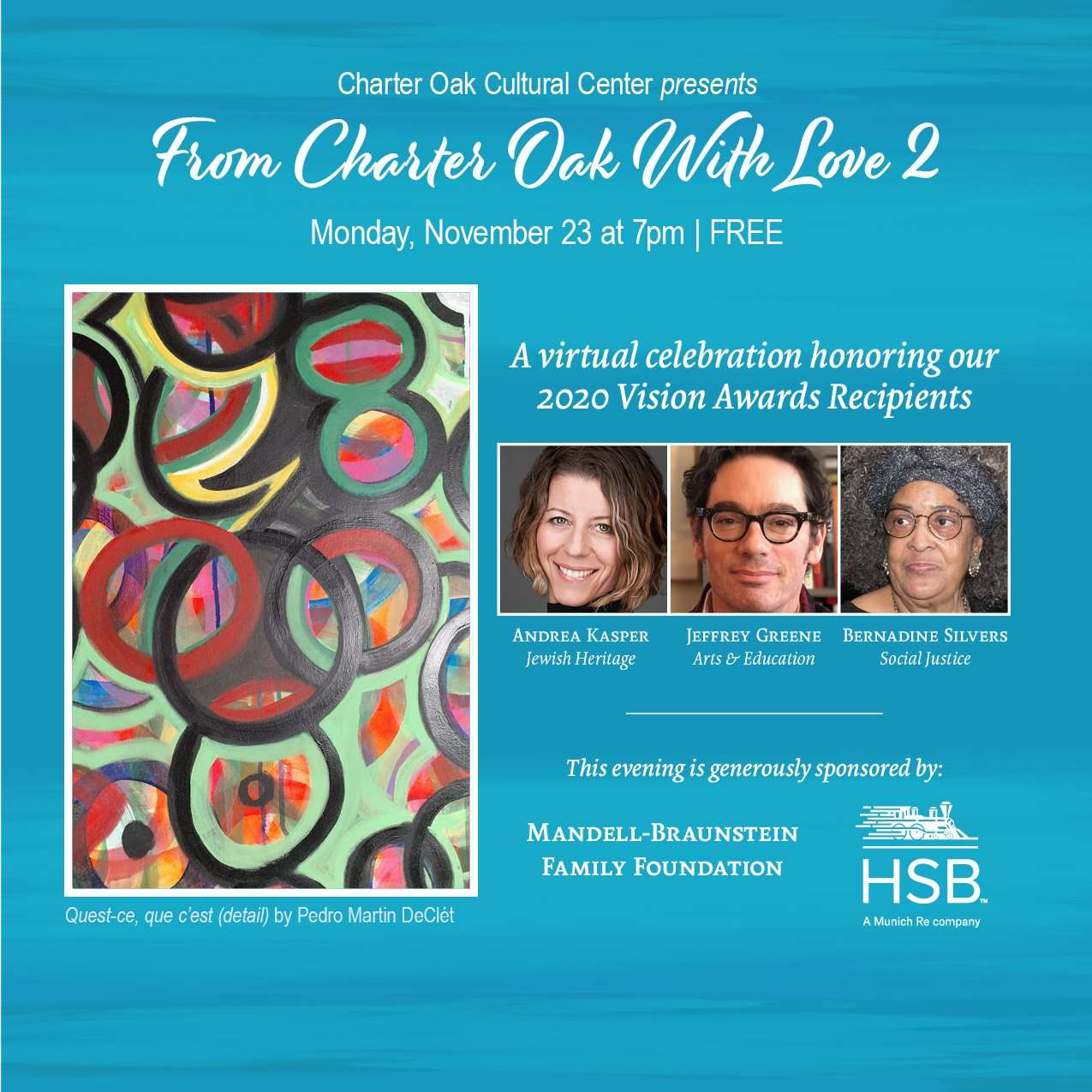 From Charter Oak With Love 2, Honoring 2020 Vision Awards Winners, Nov 23 7pm